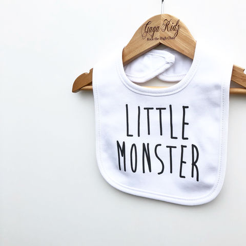 Little,Monster,Baby,Bib,little monster baby bib, baby monster bib, uk baby bib, cute baby bib, cotton baby bib, funny baby bib, cute baby clothes, funny baby clothes, unique baby gifts, baby shower gift, cool baby bib, cool baby clothes, unisex baby bibs, dribble bibs, gaga kidz