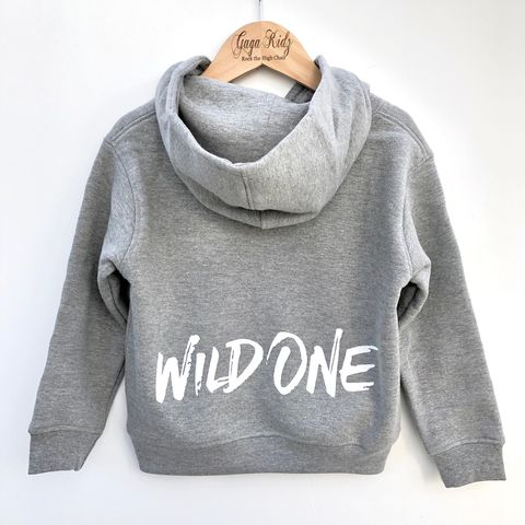 Wild,One,Hoodie,wild one, wild child, 1st birthday party outfit, gift for 1 year old, first birthday, grey hoodie, kids pullover, cool kids hoodie, children's hoodie, baby hoodie, toddler hoodie, junior hoodie, infant hoodie