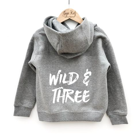 Wild,&,Three,Hoodie,young wild and three, free child, 3rd birthday party outfit, gift for 3 year old, third birthday, grey hoodie, kids pullover, cool kids hoodie, children's hoodie, baby hoodie, toddler hoodie, junior hoodie, infant hoodie