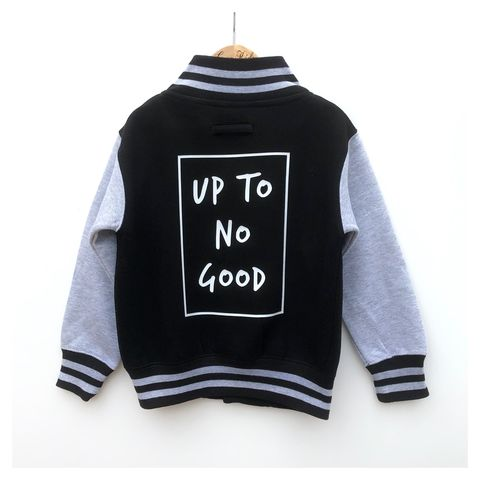 Up,to,no,Good,Varsity,Jacket,up to no good varsity jacket, kids varsity, kids jacket, kids bomber jacket, slogan, here comes trouble, funny kids jacket, college style kids jacket, cool kids clothes, gift for kid, summer, spring