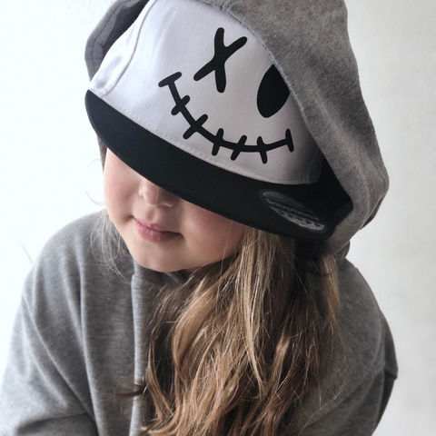 Happy,Face,Snapback,Cap,face, smile, happy, halloween, spooky, monster, snap back, snapback cap, baseball cap, youth, kids, children's hat, infant, birthday gift, trendy, cool, hipster, trucker, flat bill, summer