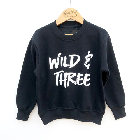 Wild,&,Three,Sweatshirt,toddler sweater, birthday jumper, wild and three, 3, young & free, child, kids sweatshirt, kids sweater, crew neck sweater, second birthday top, 3rd birthday party outfit, crew neck, turning 3, aged 3, gift for 3 year old