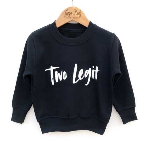Two,Legit,Sweatshirt,toddler sweater, birthday jumper, kids sweatshirt, kids sweater, crew neck, second birthday top, 2nd birthday outfit, baby sweater, baby sweatshirt, toddler crew neck, 2nd birthday party outfit gift, two legit, too