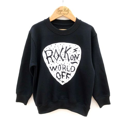 Rock,on,World,off,Sweatshirt,rock on world off, kids music gift, rock n roll, rock and roll baby, rock baby gifts, kid rock, little rocker, rock festival clothing, festival wear, rock and roll clothes, kids sweatshirt, punk rock, heavy metal sweater