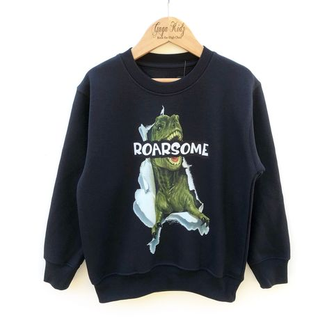 Roarsome,Dinosaur,Sweatshirt,dinosaur, roar, roarsome, t-rex, tyrannosaurus, wild, fierce, Jurassic, birthday party, lover, baby, infant, youth, pullover, sweatshirt, kids sweater, toddler crew neck jumper, top, outfit, gift