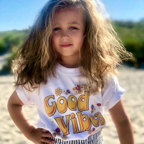 Good,Vibes,T-Shirt,waves, good vibes, summer, hippies, chick, retro, boho, beach, surfer, surf, surfs up, sun, sunny, hot, happy go lucky, positive, feeling good, tshirt, kids, baby, youth, infant, toddler, trendy t-shirt, shirt, unisex, statement, slogan, flower power