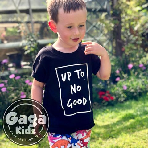 Up,to,no,Good,Black,or,White,T-Shirt,i'm up to no good, naughty, misbehaving, sarcasm, sarcastic, funny kids shirt, amusing, i don't care, kids, baby, youth, infant, toddler, trendy t-shirt, shirt, boy, girl, unisex, statement, slogan, funny