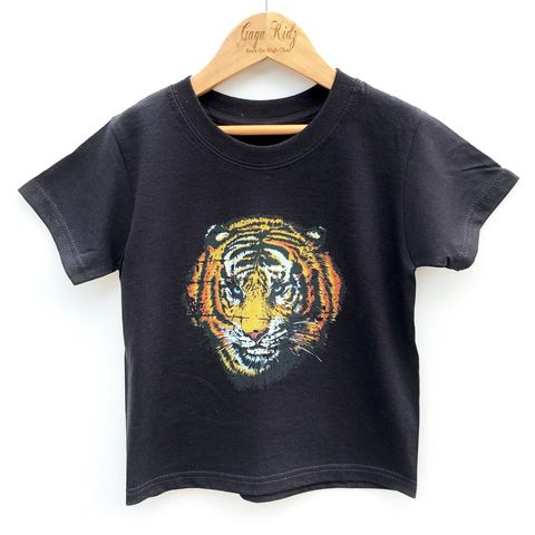 Vintage,Tiger,Black,or,White,T-Shirt,african tiger, jungle, bengal, serbian, animal, safari, big cat, retro, tshirt, kids, baby, youth, infant, toddler, trendy t-shirt, shirt, unisex, cool
