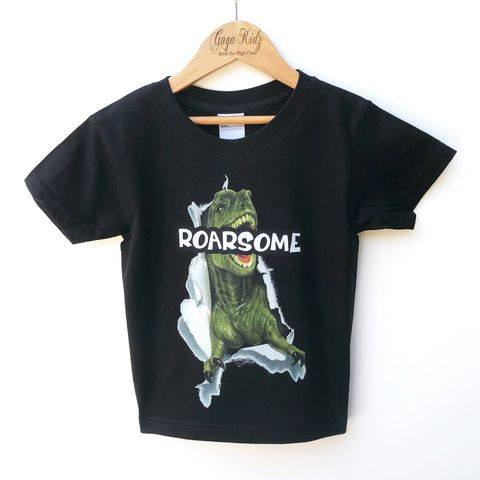 ROARSOME,Dinosaur,Black,or,White,T-Shirt,dinosaur, dino, jurassic, roar, roarsome, t-rex, tyrannosaurus, birthday party outfit, tshirt, kids, baby, youth, infant, toddler, trendy t-shirt, shirt, unisex, cool