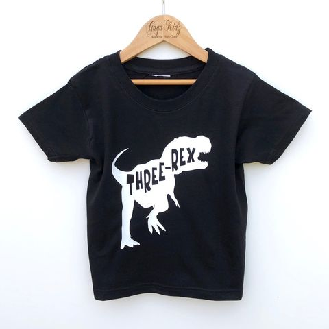 Three-Rex,Black,or,White,T-Shirt,dinosaur, dino, jurassic, t-rex, tyrannosaurus, 3rd birthday party outfit gift, turning 3, aged three, tshirt, kids, baby, youth, infant, toddler, trendy t-shirt, shirt, unisex, cool, boy, girl