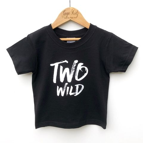 Two,Wild,Black,or,White,T-Shirt,wild child, too, two wild child, wild thing, two and wild, 2nd birthday party outfit gift, second tee, top, tshirt, kids, baby, youth, infant, toddler, trendy t-shirt, shirt, unisex, cool, boy, girl