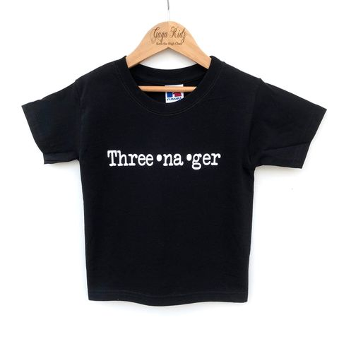 Three-na-ger,Black,or,White,T-Shirt,teenager, three-na-ger, teen, slogan, statement, funny, three and wild, 3rd birthday party outfit gift, 3, young wild and free, third tee, top, tshirt, kids, baby, youth, infant, toddler, trendy t-shirt, shirt, unisex, cool, boy, girl