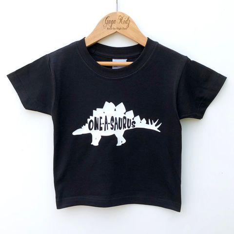 One-A-Saurus,Black,or,White,T-Shirt,first, one-a-saurus, dino, dinosaur, jurassic, one, turning 1, aged 1, 1st birthday party outfit gift, tee, top, tshirt, t-shirt, shirt, kids, baby, youth, infant, toddler, trendy, unisex, cool, boy, girl
