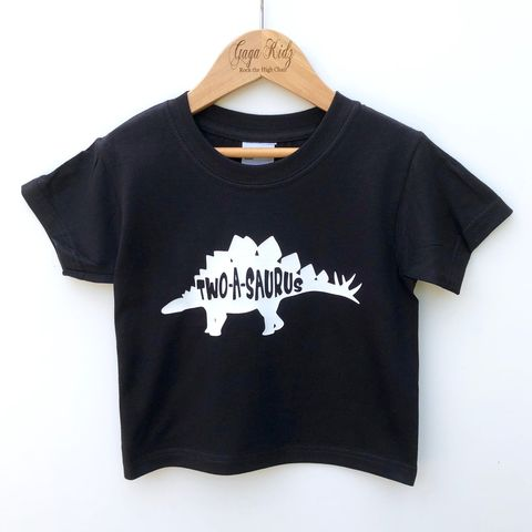 Two-A-Saurus,Black,or,White,T-Shirt,two-a-saurus, dino, dinosaur, jurassic, turning 2, aged 2, 2nd birthday party outfit gift, tee, top, tshirt, t-shirt, shirt, kids, baby, youth, infant, toddler, trendy, unisex, cool, boy, girl