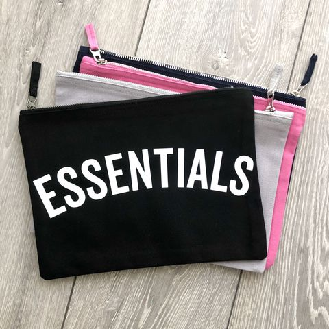 ESSENTIALS,Pouch,(Various,Colours),cosmetic wallet, make up bag, makeup storage, toiletry bag, wash bag, wipes pouch, essentials, nappy pouch, diaper clutch, nappy wallet, funny nappy bag, baby bag, small canvas travel zipper wallet, changing bag, new mum gift, mothers day, gift for her