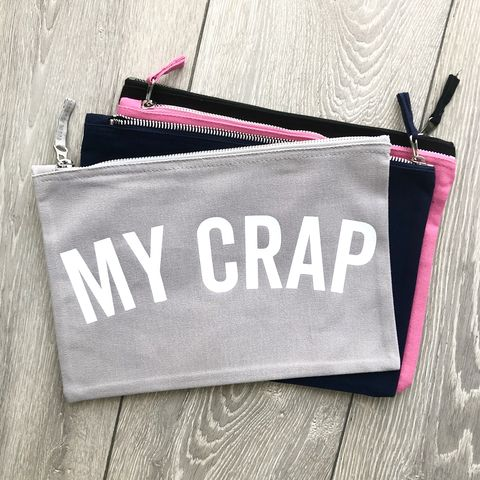 MY,CRAP,Pouch,(Various,Colours),cosmetic wallet, make up bag, makeup storage, toiletry bag, wash bag, wipes pouch, essentials, nappy pouch, diaper clutch, nappy wallet, funny nappy bag, baby bag, small canvas travel zipper wallet, changing bag, new mum gift, mothers day, gift for her