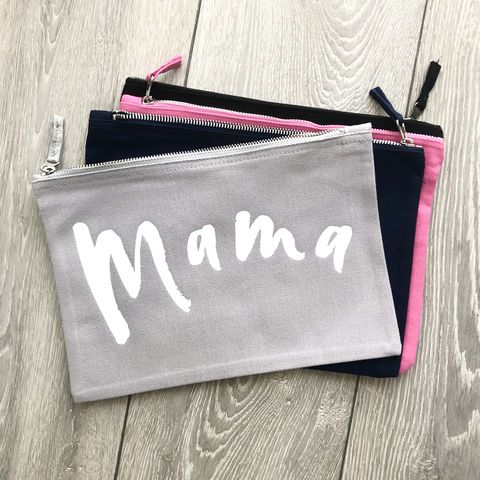 Mama,Zip,Pouch,(Various,Colours),cosmetic wallet, make up bag, makeup storage, toiletry bag, wash bag, nappy pouch, diaper clutch, nappy wallet, funny nappy bag, baby bag, small canvas travel zipper wallet, changing bag, new mum gift, sister, wife, mothers day, gift for her, baby shower