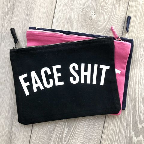 Face,Shit,Makeup,Bag,(Various,Colours),trendy face shit bag, cosmetic wallet, make up bag, makeup artist storage, toiletry bag, wash bag, clutch, funny bag, small canvas travel zipper wallet, over night, girlfriend, friend gift, sister, wife, mothers day, gift for her