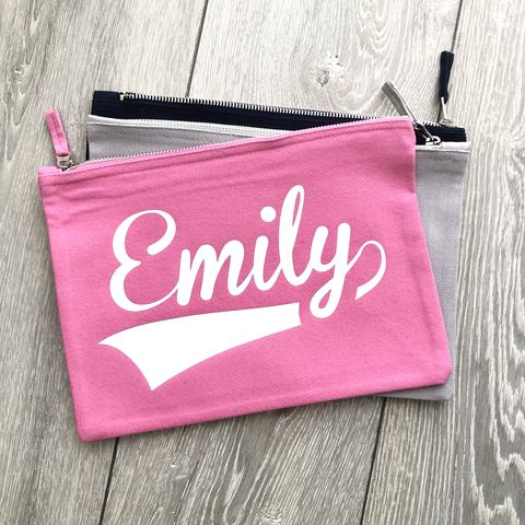 Custom,Name,Pouch,(Various,Colours),custom name, personalise, pencil case, back to school, bridesmaid, cosmetic wallet, make up bag, makeup storage, toiletry wash bag, wipes pouch nappy pouch, diaper clutch, nappy wallet, small canvas travel zipper wallet, changing bag, new mum gift for her