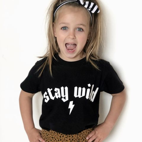 Stay,Wild,Black,or,White,T-Shirt,wild one birthday, stay wild, wild child, wild thing, rock n roll, heavy metal, rocker, kid alternative, funny kids shirt, baby, youth, infant, toddler, trendy t-shirt, shirt, boy, girl, unisex, funny gift, tee, top