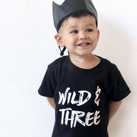 Wild,&,Three,Black,or,White,T-Shirt,wild child, wild thing, three and wild, 3rd birthday party outfit gift, 3, young wild and free, third tee, top, tshirt, kids, baby, youth, infant, toddler, trendy t-shirt, shirt, unisex, cool, boy, girl