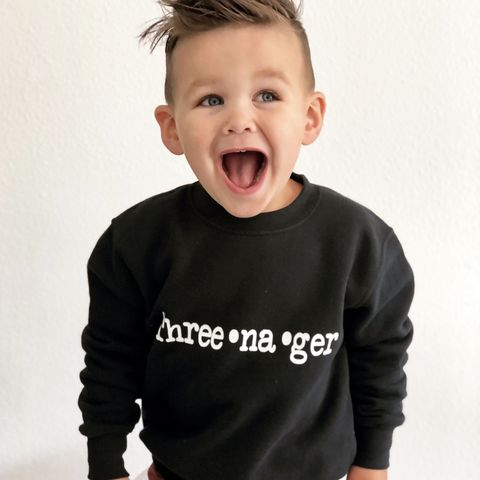 Three-na-ger,Sweatshirt,threenager, teenager, toddler sweater, birthday jumper, young wild and three, 3, free, child, kids sweatshirt, kids sweater, crew neck sweater, second birthday top, 3rd birthday party outfit, crew neck, turning 3, aged 3, gift for 3 year old