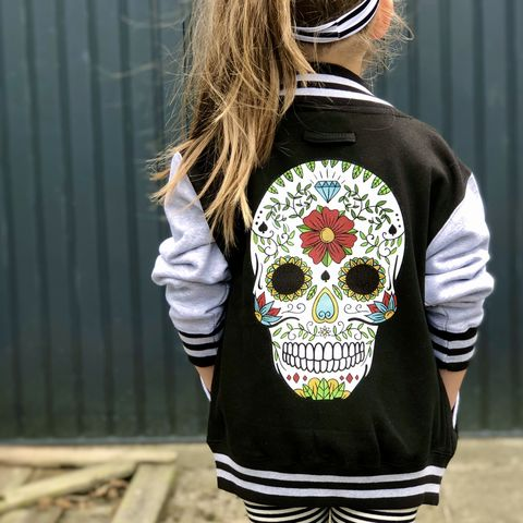 Sugar,Skull,Varsity,Jacket,kids varsity jacket, children's bomber jacket, sugar skull, day of the dead, candy skull, lightweight jacket, summer jacket, spring jacket, college jacket, cool kids clothes, gift for kids, halloween jacket, rock n roll outfit, festival jacket