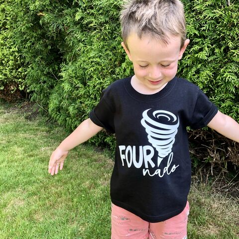 Fournado,Black,or,White,T-Shirt,four ever wild child, wild thing, 4 and wild, fournado, four nado, 4th birthday party outfit gift, tee, top, tshirt, kids, baby, youth, infant, toddler, trendy t-shirt, shirt, unisex, cool, boy, girl