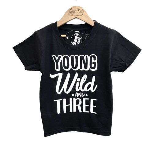 Young,Wild,&,Three,Black,or,White,T-Shirt,wild child, wild thing, young wild and three, 3rd birthday party outfit gift, 3, wild and free, third tee, top, tshirt, kids, baby, youth, infant, toddler, trendy t-shirt, shirt, unisex, cool, boy, girl