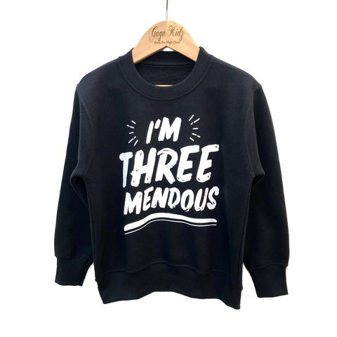 I'm,THREEmendous,Sweatshirt,i'm threemendous, threenager, toddler sweater, birthday jumper, young wild and three, 3, free, child, kids sweatshirt, kids sweater, crew neck sweater, second birthday top, 3rd birthday party outfit, crew neck, turning 3, aged 3, gift for 3 year old