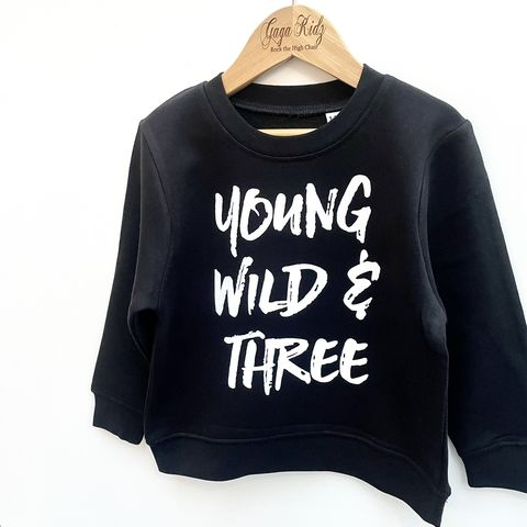 Young,Wild,&,Three,Sweatshirt,toddler sweater, birthday jumper, wild and three, 3, young wild & free, child, kids sweatshirt, kids sweater, crew neck sweater, second birthday top, 3rd birthday party outfit, crew neck, turning 3, aged 3, gift for 3 year old