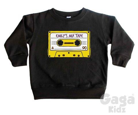Custom,Name,Mix-Tape,Sweatshirt,custom, retro, mix tape, cassette, vintage tape, music lover sweatshirt, what's your mix tape, custom kids name, personalised name, sweater, pullover, baby jumper, toddler, child, children's, youth, trendy, hipster, hip, cool gift, infant, unisex birthday