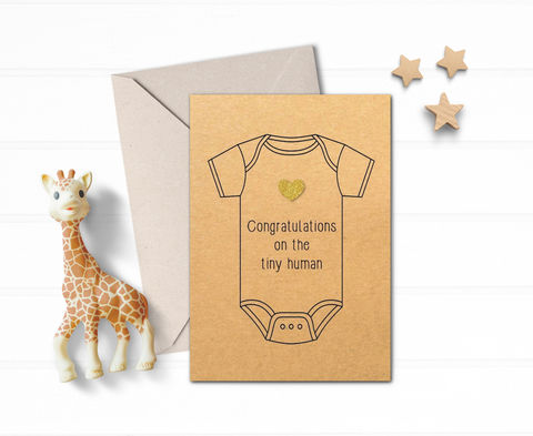 Congratulations,on,the,tiny,human,Card,funny new baby card, humour baby shower card, congratulations new birth greeting card for friend, new expecting card, congratulations on the tiny human