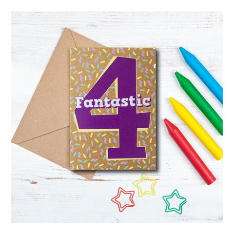 Fantastic,4,-,4th,birthday,Card,fantastic 4, 4th birthday card, card for 4 year old, turning 4, greeting card, birthday gift