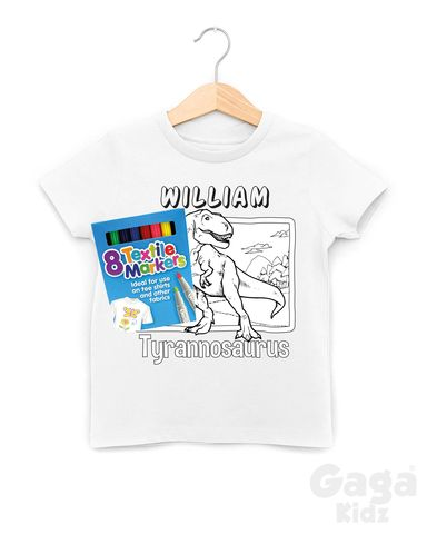 Custom,T-Rex,Colour-In,T-Shirt