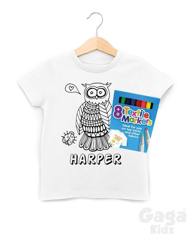Custom,Owl,Colour-In,T-Shirt