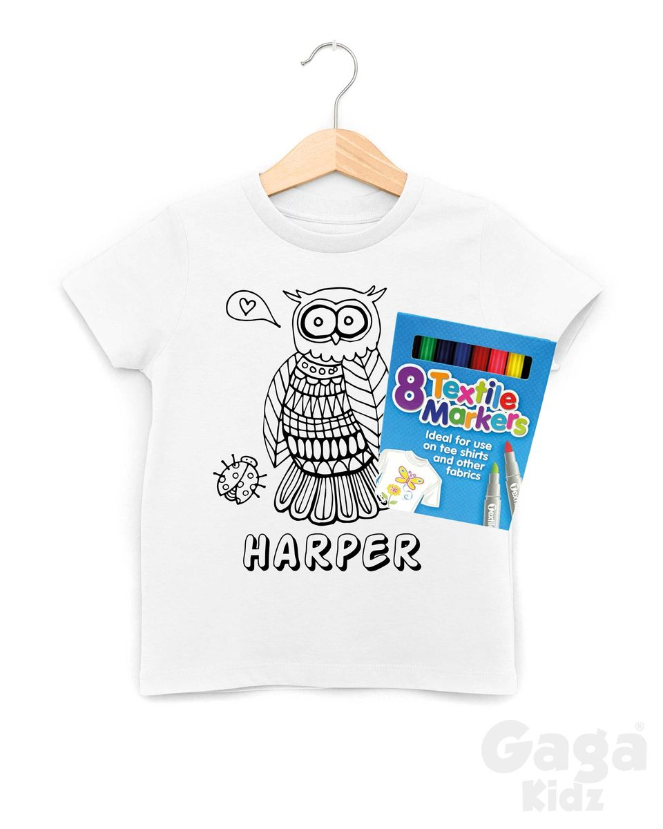 Custom Owl Colour-In T-Shirt - product images  of