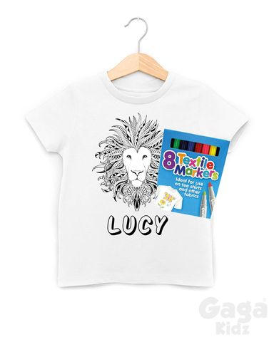 Custom,Lion's,Head,Colour-In,T-Shirt