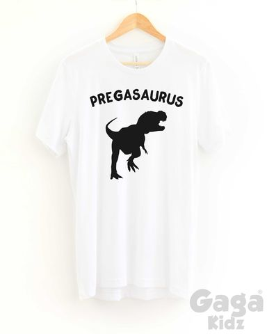 Pregasaurus,Adult,Black,or,White,T-Shirt,pregnant t-shirt, pregasaurus top, amusing pregnancy tee, motherhood unisex adult t-shirt, funny giving birth outfit, baby reveal, baby shower gift, mothers day gift, motherhood, mum fashion top, fierce mum