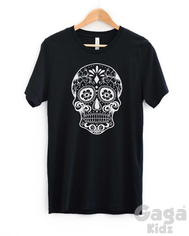 Sugar,Skull,Adult,Black,or,White,T-Shirt,mexican sugar skull, day of the dead, bad girl boy for life, cool men ladies teenager shirt, trendy fashion hipster, unisex adult t-shirt, funny birthday shirt, stocking filler gift