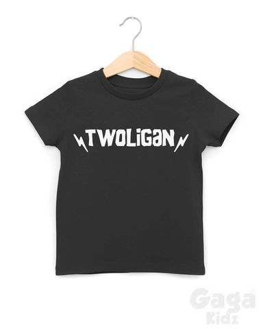 Twoligan,Black,or,White,T-Shirt,twoligan, 2 wild, too, two wild child, wild thing, two and wild, 2nd birthday party outfit gift, second tee, top, tshirt, kids, baby, youth, infant, toddler, trendy t-shirt, shirt, unisex, cool, boy, girl