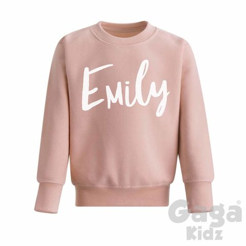 Custom,Name,Dusty,Pink,Sweatshirt,trendy, hipster, fashion, dusty pink, personalised sweater, custom sweater, custom sweatshirt, kids name clothes, name top, cool kids sweatshirt, cool jumper, funny kids sweater, popular kids clothes, trendy kids jumper, kids gifts