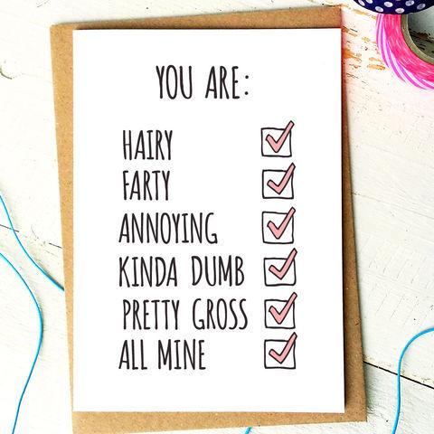 Funny Love Card Girlfriend Card Funny Birthday Card
