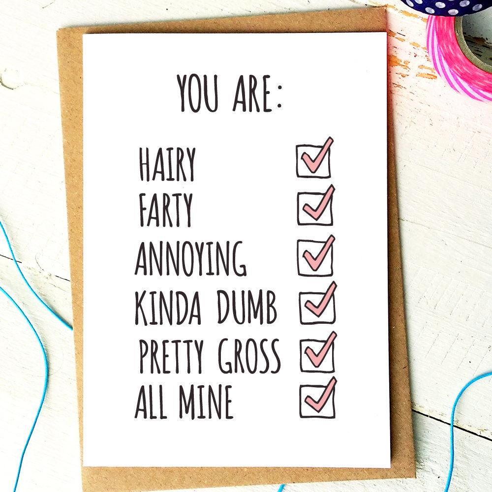 Funny Anniversary Card Funny Love Card Boyfriend Card Husband