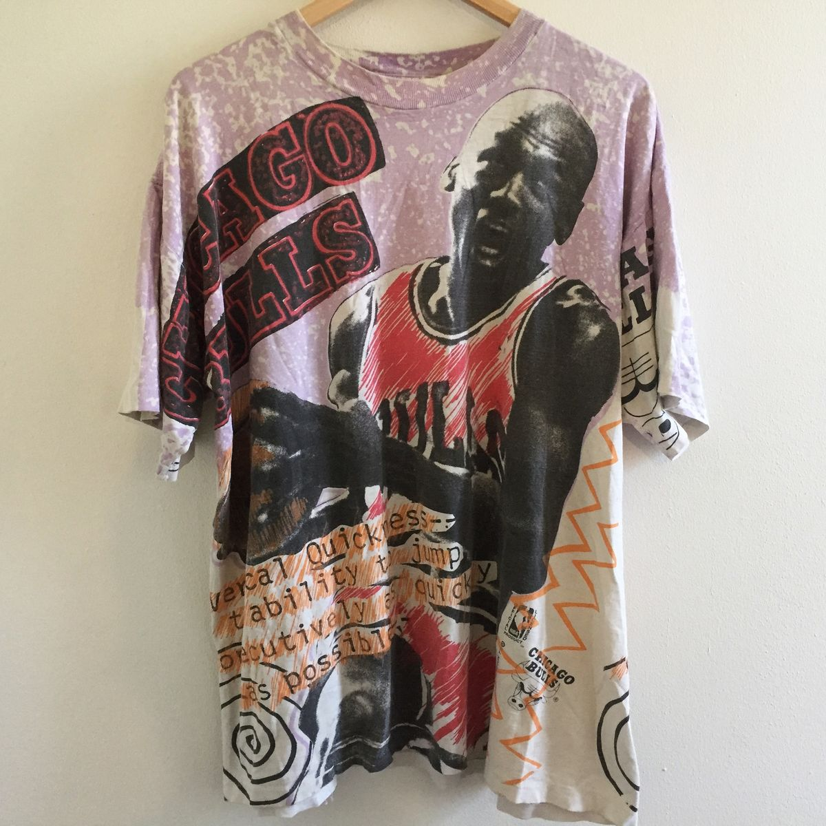 bbe580574d1eb7 ... Extremely Rare Vintage 90s Michael Jordan Chicago Bulls All-Over Print  Tee - product images ...