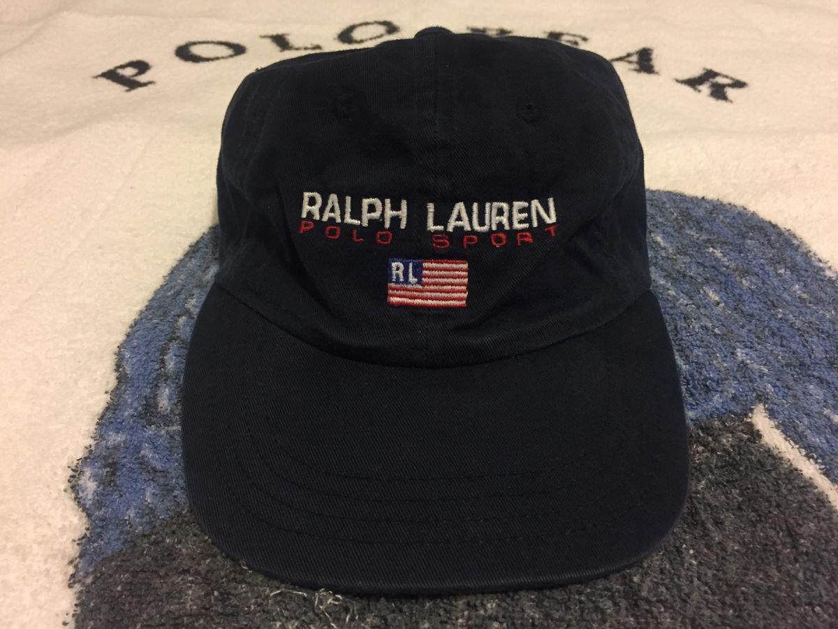 61c809ef073 Rare Vintage Polo by Ralph Lauren Cap Polo Hat Cap Leather