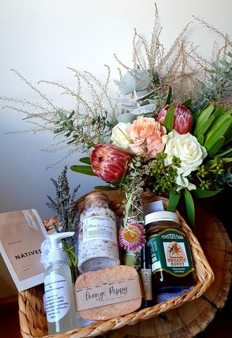 Body,and,Mind,Hamper,Flowers, hampers, order hampers online, online flower deliverys, bunbury florist, bunbury flowers, order flowers bunbury, same day delivery.