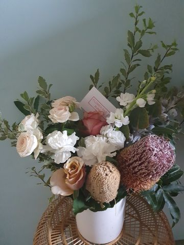 Just,Picked,in,Ceramic,Pot,same day delivery, bunbury flowers, bunbury florist, buy flowers online, victoria st bunbury, dalyellup flowers, natives, wildflowers.