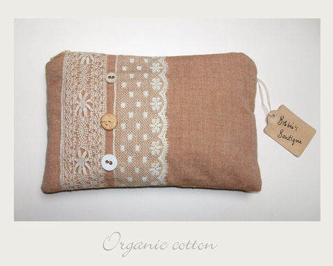 Rust,Make,up,Purse,organic cotton,make up purse,ethical,eco,shabby chic