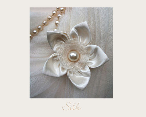 White,Silk,Brooch,brooch,silk,wedding,hemp,ethical brooch,wedding accessory, bobbies boutique